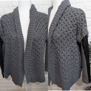 Dex Faux Leather Sleeve Sweater Gray Small